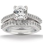 wedding engagement round diamond ring set with matching band