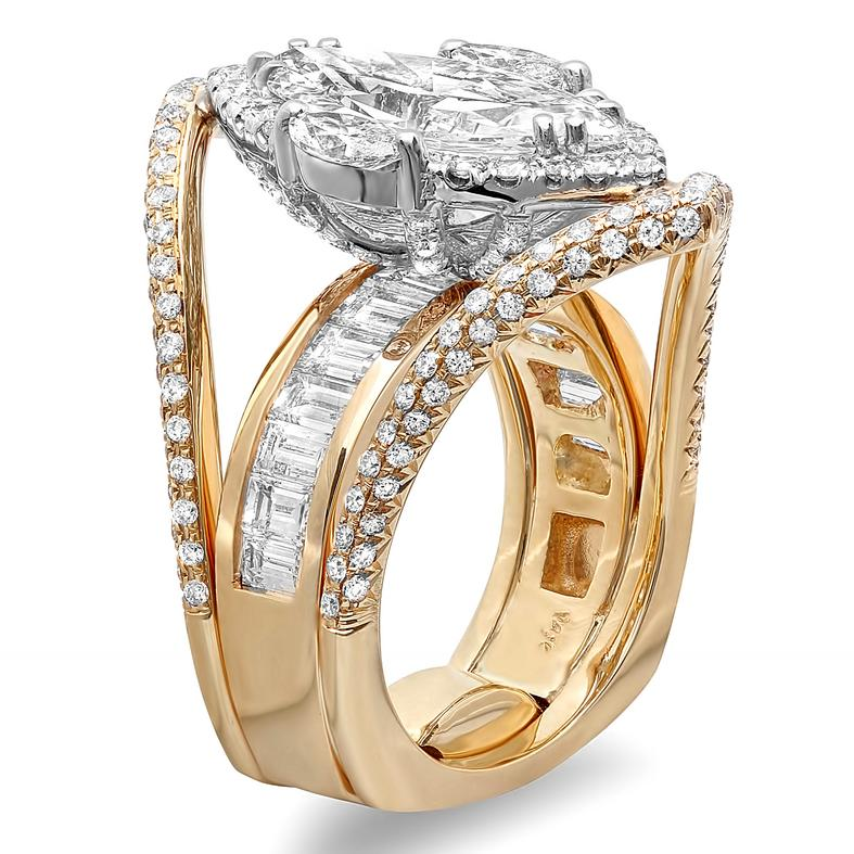 Custom marquise diamond wedding ring with round and baguette diamonds