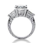 Three stone wedding engagement ring with hand engraving