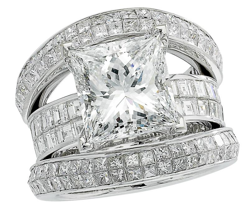 14kt white gold princess cut engagement ring, 3 princess cut diamond matching bands