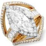 Custom marquise cut diamond wedding engagement ring with round diamond and baguette diamonds