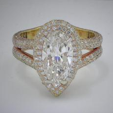marquise cut diamond wedding engagement ring with round diamonds